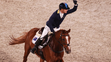 Andrew Hoy on Vassily de Lassos celebrates after his ride.