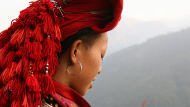 Traditional head wear of the Red Dzao hill tribe in north-west Vietnam.