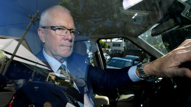 Former ABC chairman Justin Milne returns to his home in Sydney on Thursday.