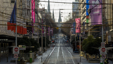Melbourne's deserted CBD during the lockdown.