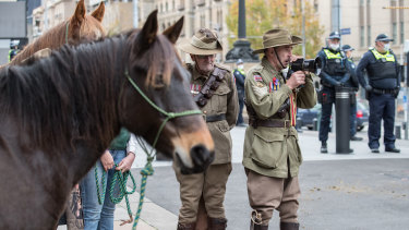 Protesters outside Parliament on Tuesday opposing a planned brumby cull.