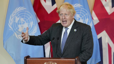 British Prime Minister Boris Johnson speaks in New York on Monday.