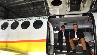Bill Shorten aboard a Royal Flying Doctor Service plane in Launceston after announcing the organisation will receive $7 million if Labor is elected.