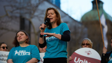 Michele O'Neill at an ACTU rally.