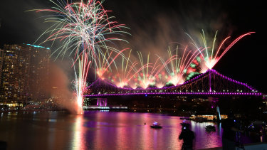 Fireworks over the Story Bridge and the Brisbane skyline during a recent Riverfire display.