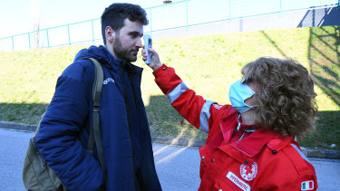 Coronavirus health checks take place before the Serie A match between Udinese Calcio and ACF Fiorentina at Stadio Friuli in Udine, Italy.
