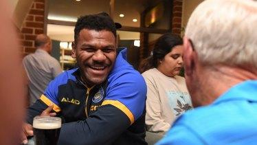 Parramatta's Maika Sivo chats to locals in Bega.