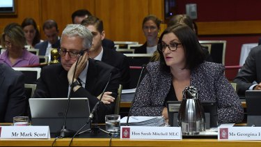 Secretary of the Department of Education Mark Scott (left) and the Minister for Education Sarah Mitchell (right) at the NSW Budget Estimates on Tuesday.