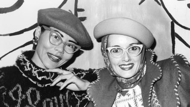 Jenny Kee and Linda Jackson at the Bondi Pavilion in 1975.