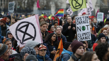 "Extinction Rebellion's ""Enough is Enough"" march in London early this year. The great catastrophe so feared by the activists has in a sense been averted already, if only they could see it."