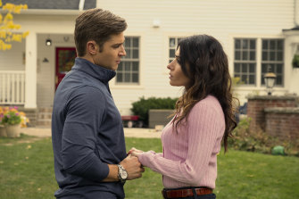 Billie's husband Cooper, left, played by Mike Vogel, goes to extreme lengths to keep Billie happy.
