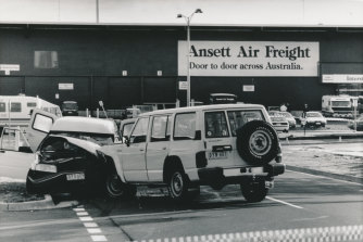 July 28, 1992: police special operations group (right) smash into the bandits' panel van at Melbourne Airport.