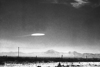 In New Mexico in 1957, an unidentified object was photographed by a US government employee after it hovered for 15 minutes over the desert.