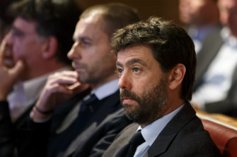 UEFA president Aleksander Ceferin, center, with breakaway founder and Juventus chairman Andrea Agnelli.