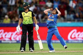 Indian match winner Poonam Yadav celebrates a wicket in Sydney.