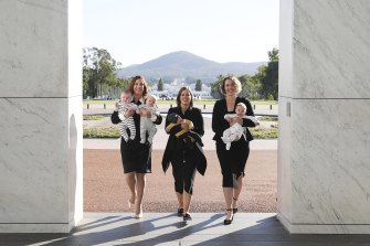 Labor MPs Anika Wells, Kate Thwaites and Alicia Payne returned to Parliament from maternity leave and paid homage to a photo from 1943 of Dorothy Tangey and Dame Enid Lyons entering the front door of Old Parliament House.