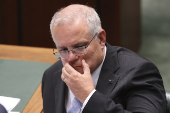 Scott Morrison facing questions on the scandals confronting his government during question time.
