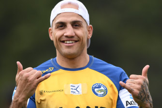 Relaxed: Blake Ferguson hams it up for the cameras during the week.
