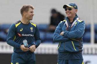 David Warner (left) with chairman of selectors Trevor Hohns during the Ashes tour.