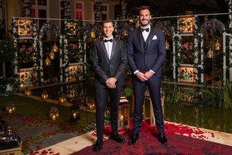 The Bachelor's Locky Gilbert and host Osher Gunsburg.