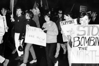 Anti-Vietnam War student protesters marching in Melbourne in 1968.