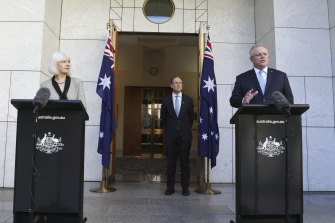 National Mental Health Commission chief Christine Morgan and Prime Minister Scott Morrison announce the mental health recovery plan in May.