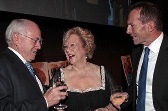 Fran Bailey in 2011 with former prime minister John Howard and then opposition leader Tony Abbott.