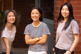 Lauriston Girls School students Cathy Xiong, Amelia Zhu and Felicity Hu on Friday.
