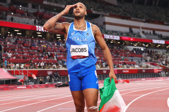 US-born Lamont Marcell Jacobs celebrates his success at the Tokyo Olympics.