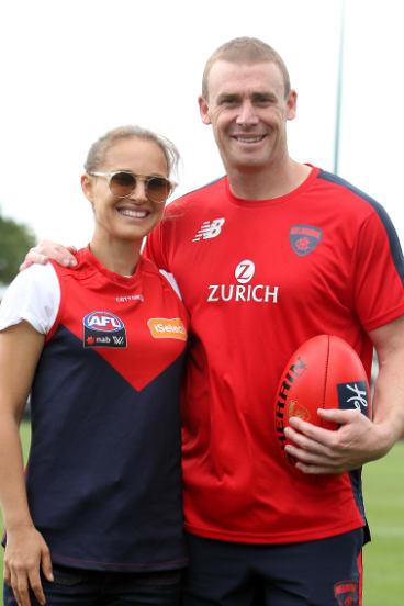 Natalie Portman with the Melbourne Football Club's Simon Goodwin.