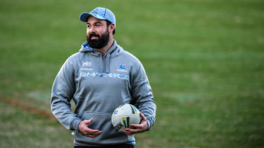 Shire thing: Aaron Woods during his first training session with the Sharks.