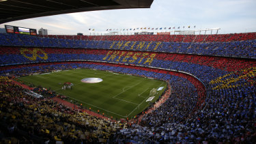 Fortress: Barcelona's Camp Nou has also been mooted as a venue for the decider of the proposed Nations Championship.