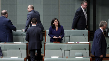Julia Banks surrounded by government MPs as she announces her resignation from the Liberal Party following the August leadership spill.