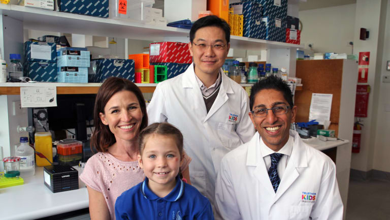 Marny Parker and daughter Flo, who was diagnosed with leukaemia at 3, with Telethon Kids Institute researchers Dr Laurence Cheung and Dr Rishi Kotecha.