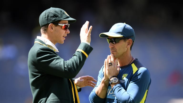 Australian captain Tim Paine with coach Justin Langer in Perth on Friday.