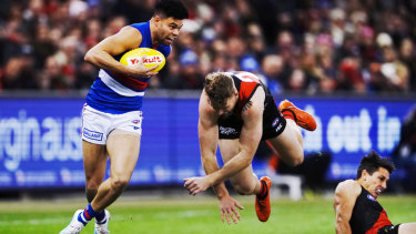 Crash landing: The Bombers fell to earth after a 104-point loss to the Bulldogs.