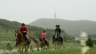Horse riders Belinda Cox, Angela Chapman and Paula Stagg at the National Arboretum as dust covers the sky over Canberra on Saturday morning.