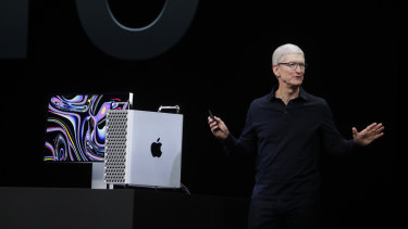 Apple chief Tim Cook with the all new MacBook Pro.
