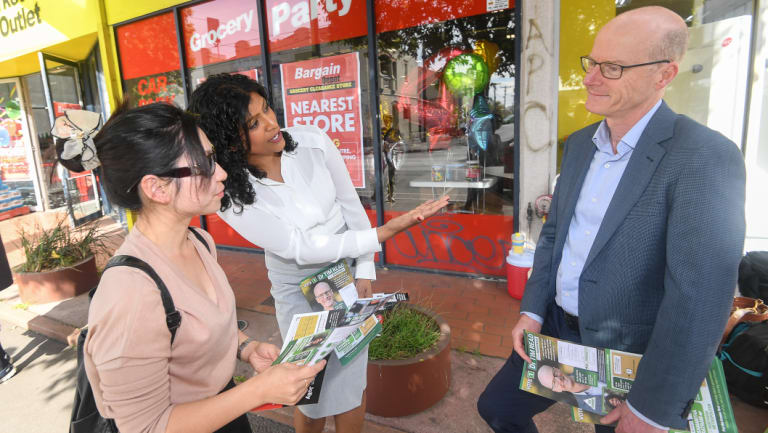 The Greens' leader Samantha Ratnam and Brunswick candidate Tim Read campaigning in the seat.