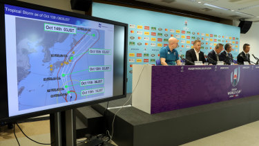 Rugby World Cup tournament chiefs demonstrate the potential impact of Typhoon Hagibis in Tokyo on Thursday.