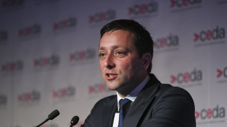 Opposition leader Matthew Guy delivered a speech on decentralisation on Tuesday.