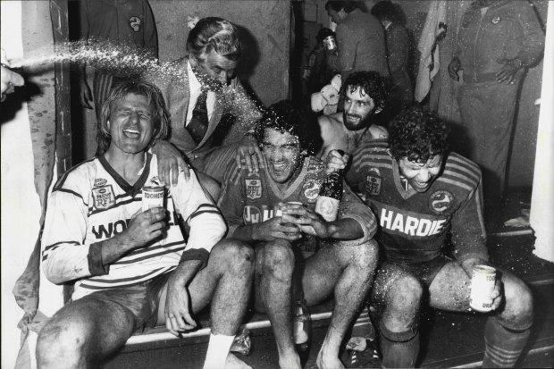 The Eels celebrate their 1983 NSWRL grand final win with then-Prime Minister Bob Hawke.
