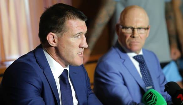 Optimistic: Paul Gallen and Sharks CEO Barry Russell.