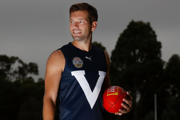 North Melbourne's Shaun Higgins in the Big V ahead of the AFL's state-of-origin bushfire fundraising match.