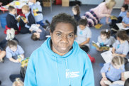 Karen Manbulloo with the students of La Perouse Public School.