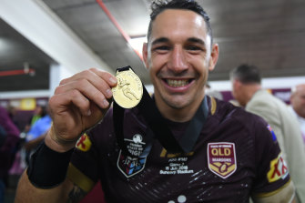 Billy Slater won the Wally Lewis medal for player of the series in his final Origin campaign in 2018.
