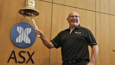 Nuix CEO Rod Vawdrey at the bell ringing ceremony for the company's ASX debut.