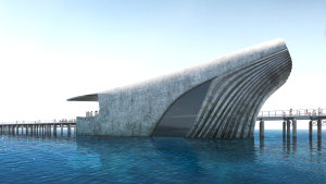 Illustrations of the planned Ocean Discovery Centre off the West Australian coast at Busselton.