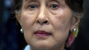 Myanmar's ousted leader Aung San Suu Kyi, pictured in December 2019, is on trial.