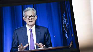 Jerome Powell, chairman of the US Federal Reserve, speaks during a virtual news conference.